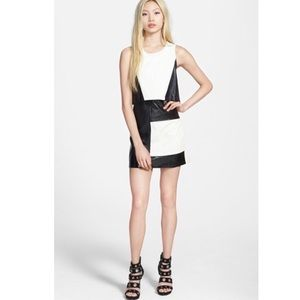 MinkPink color block faux leather sleeveless dress